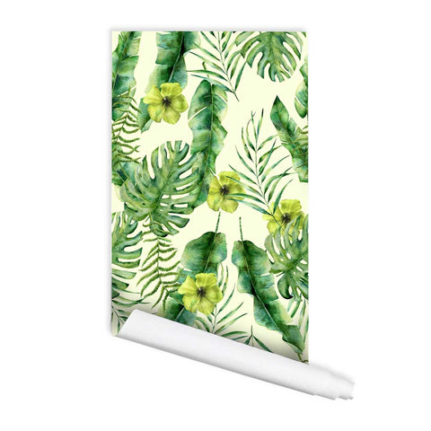 Tropical wallpaper peel and stick wall mural watercolor Cadiz, Removeable Fabric Wallpaper