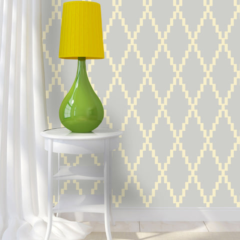 Harlequin Diamond Pattern Taung Peel & Stick Removeable Fabric Wallpaper