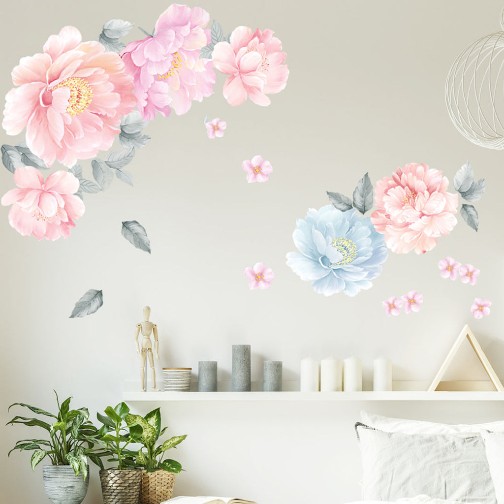 Peony Flowers Wall Decal Watercolor Floral Flowers Peel And Stick