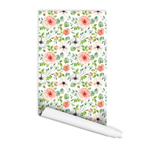 Floral pattern Debe Peel & Stick Removeable Fabric Wallpaper