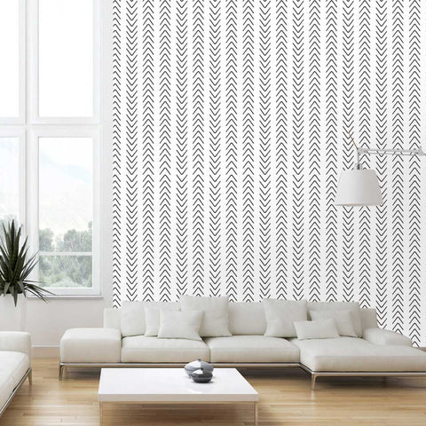 Scandinavian Arrow Wallpaper Mhole Peel & Stick Removeable Fabric Wallpaper