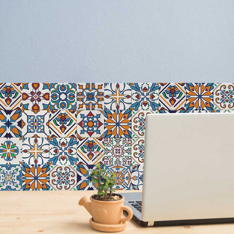 Decorative Tiles Stickers Motril - Pack of 16 tiles - Tile Decals Art for Walls Kitchen