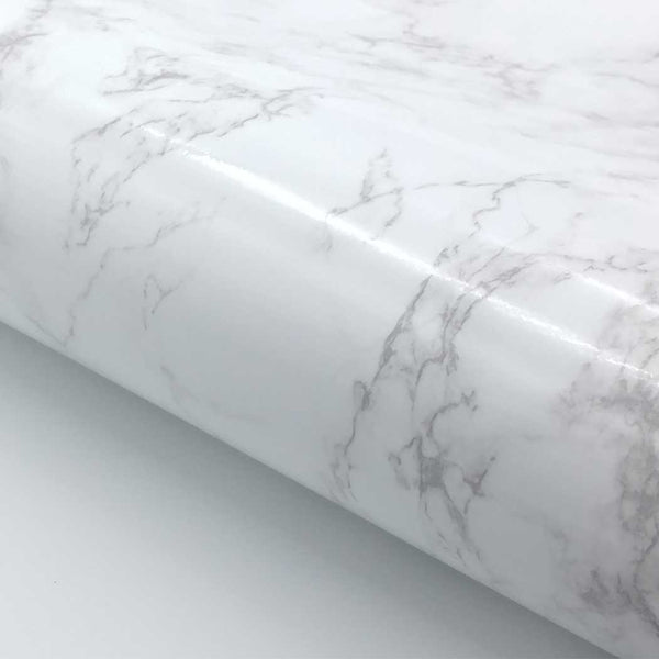 "Marble Contact Paper Peel & Stick - White Glossy 24"" x 78.7"" Roll"