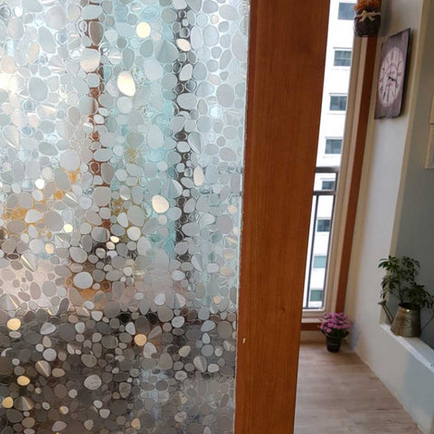 "No Glue Window Pebble Decorative Film Privacy Film Jazmin for Home Kitchen Living Room 19.6"" x 78.7"""