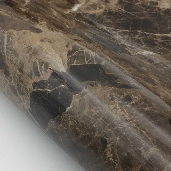 "Marble Contact Paper Peel & Stick - Dark brown Glossy 24"" x 78.7"" Roll"
