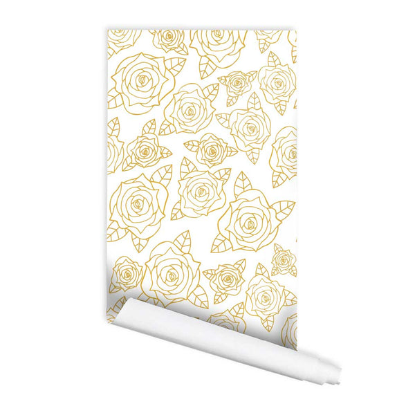 Floral Rose Pattern Adelyn Self adhesive Peel and Stick Fabric Wallpaper