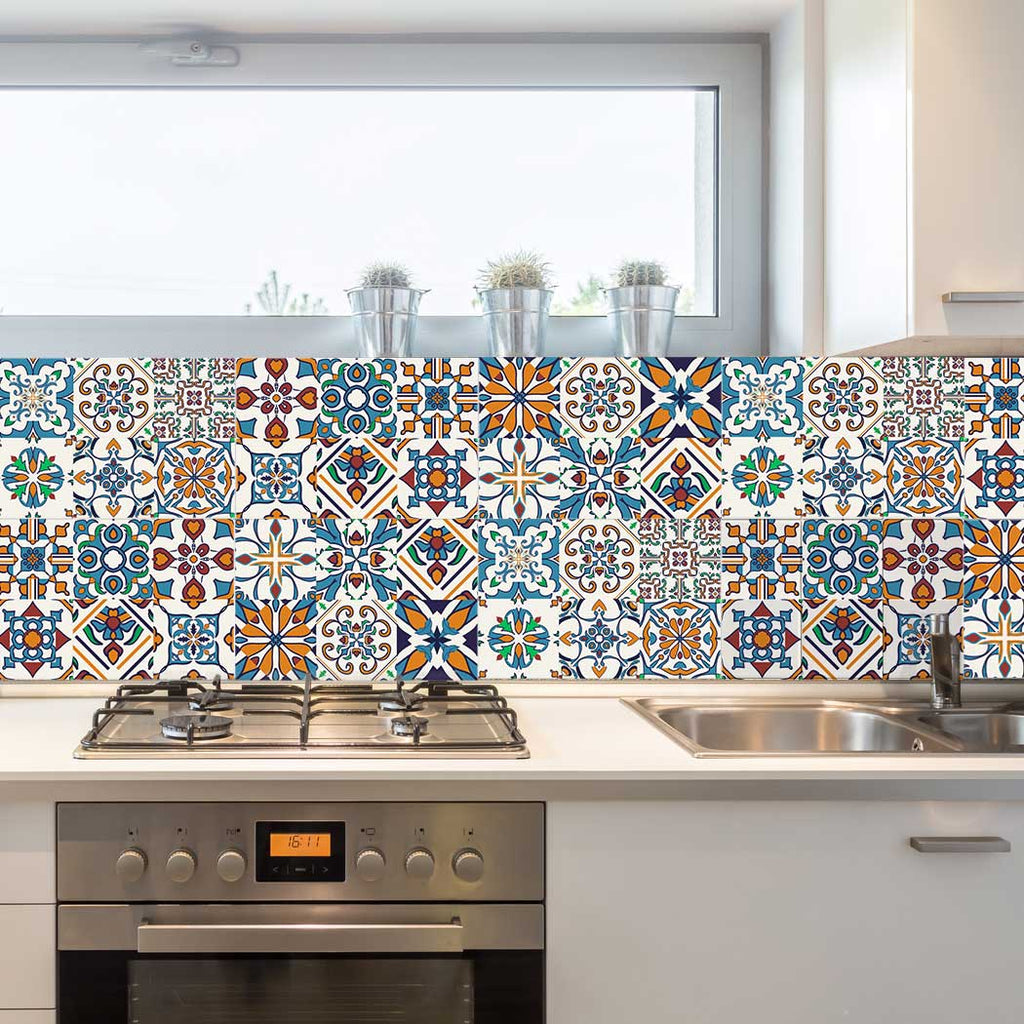 Decorative tiles stickers motril pack of 16 tiles tile decals art for walls kitchen