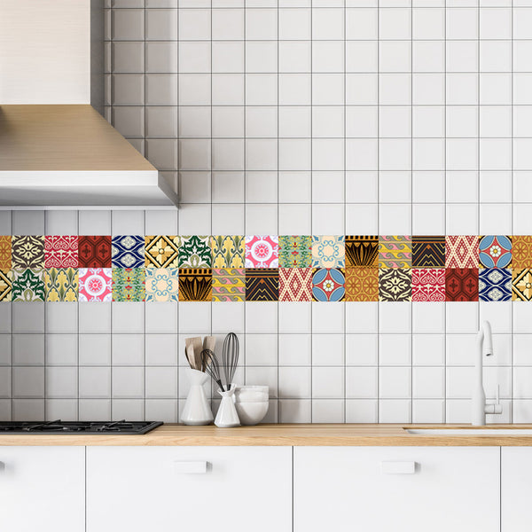 Decorative Tiles Stickers Oslo - Pack of 16 tiles - Tile Decals for Walls Kitchen Bathroom