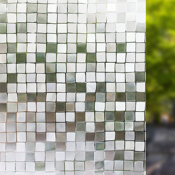 "Self Adhesive Window Film Mosaic Pattern for Home Kitchen Office Bedroom 19.6"" x 78.7"""
