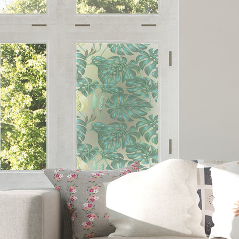 Decorative Static Cling Window Film Printed on Frosted Films Monstera leaves