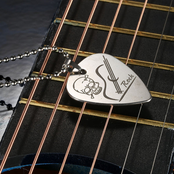 Guitar Pick Necklace Stainless Steel