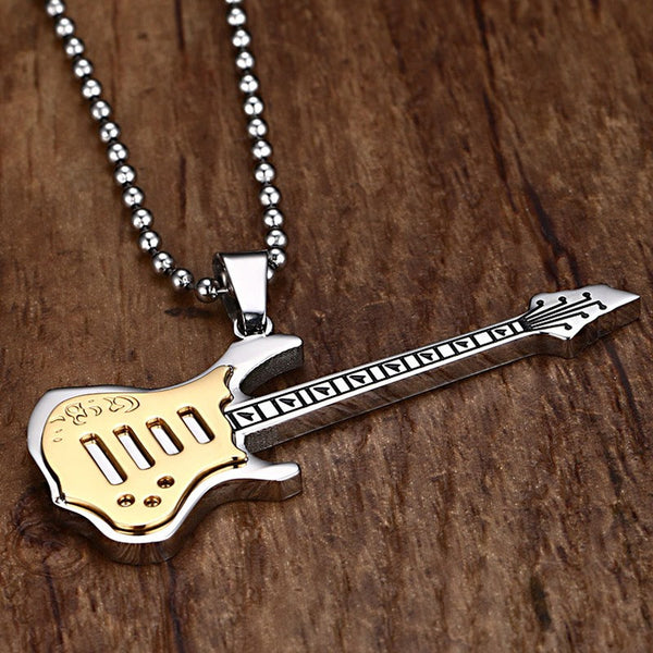 Guitar Necklace - Stainless Steel chain