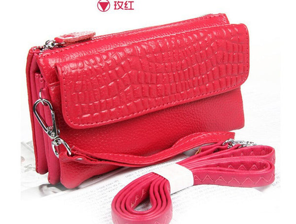 Women's genuine leather clutch wristlet purse/bag.