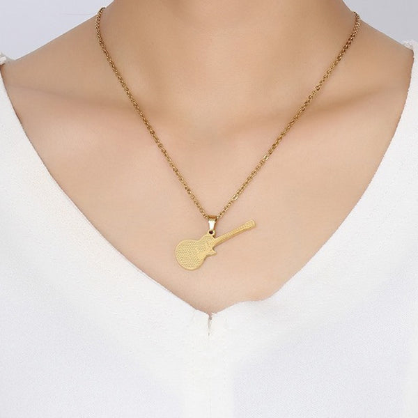 Guitar Necklace Gold Color