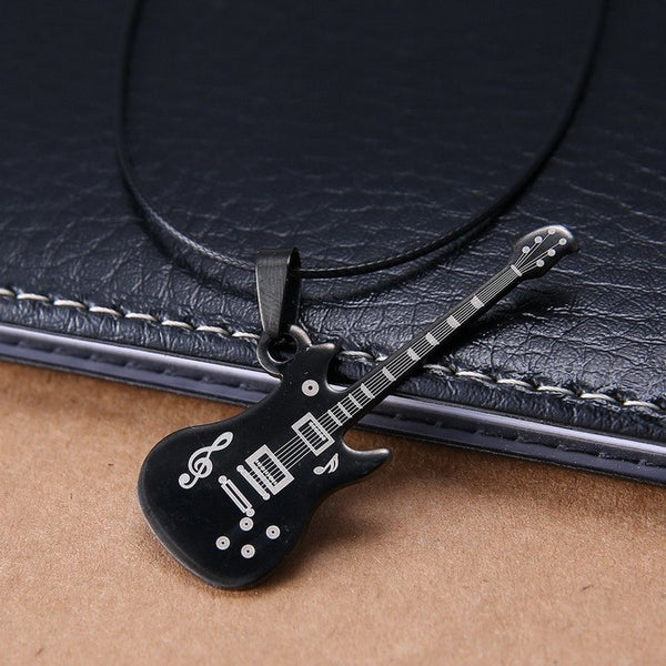 Guitar Stainless Steel necklace with Leather Chain