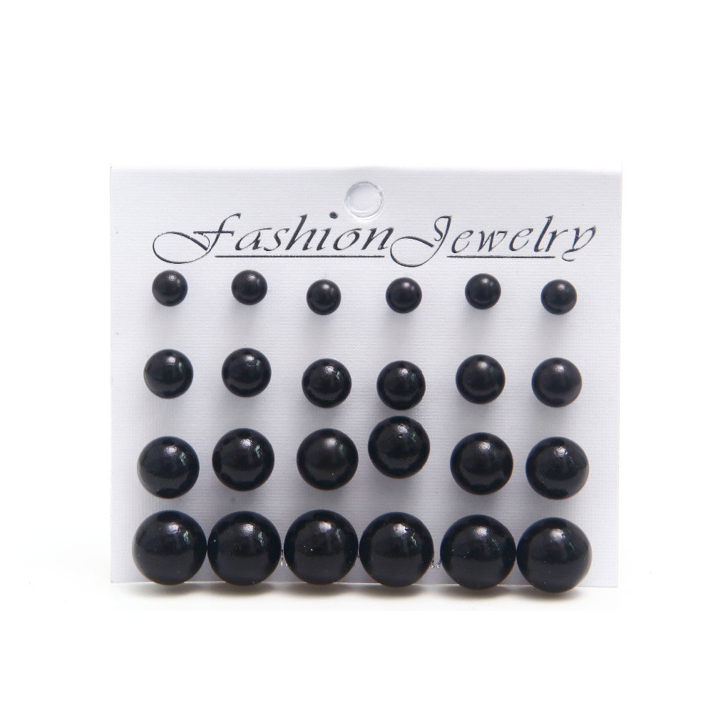 White/Black  Pearl Stud Earrings SET - 6mm/8mm/10mm/12mm 1 Card 12 Pairs