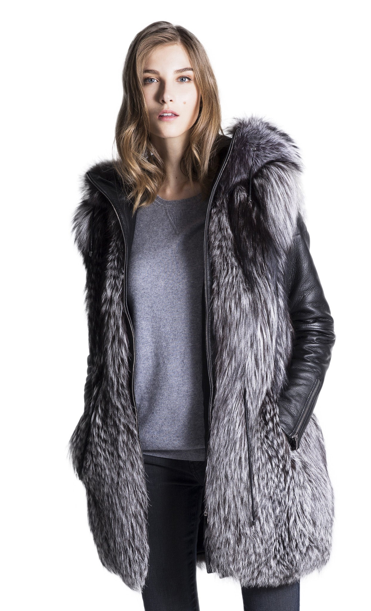 670ae1f6f WOMEN's Silver Fox Fur Coat – KUMETH