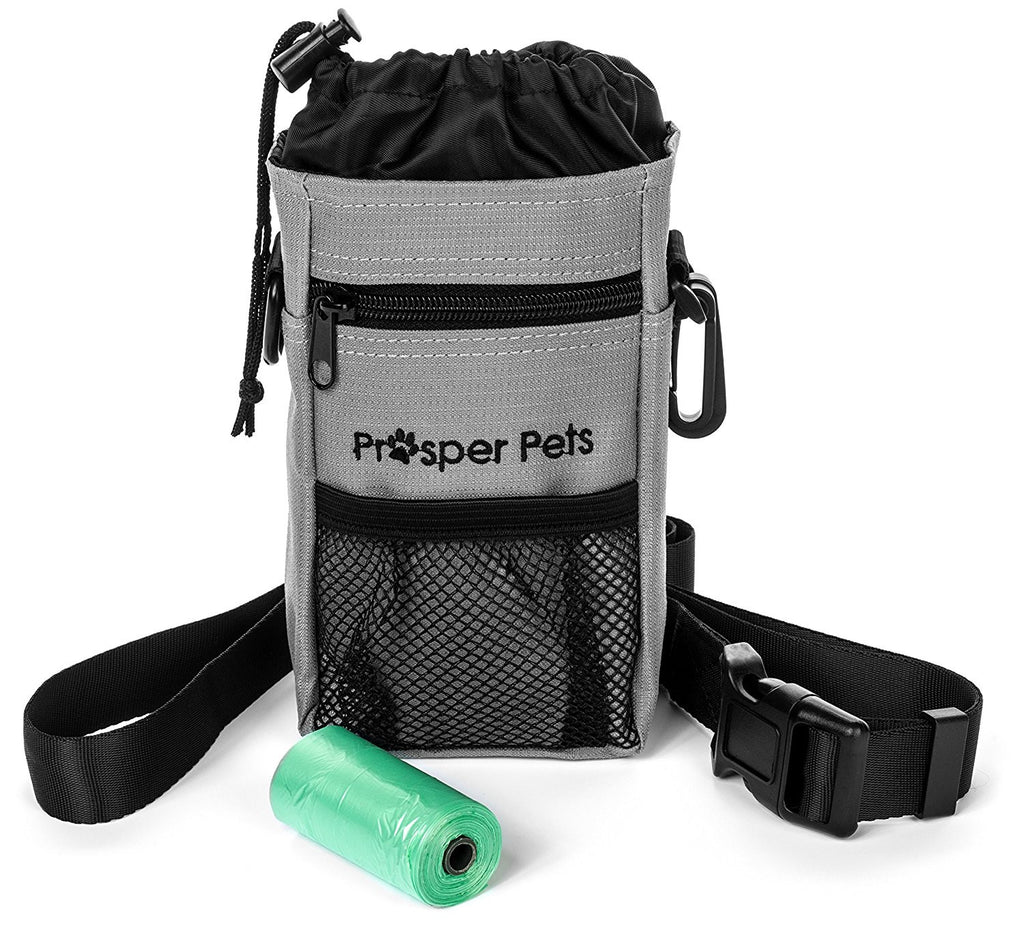 "Prosper Pets Dog Treat Pouch with Poop Bag Dispenser - Ideal for Carrying Treats and Toys – Adjustable Waist Belt / Shoulder Strap 23-60""- Includes Roll of Waste Bags"