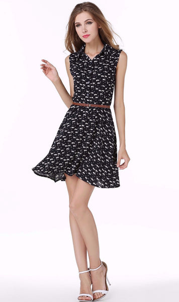 Cute Summer Cat Pattern Dress - Two Stupid Cats