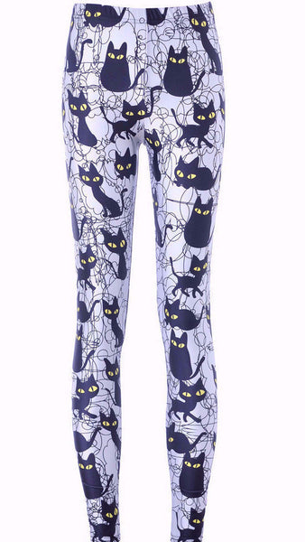 Black Cat Funky Leggings - Two Stupid Cats