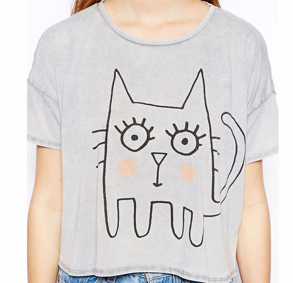 Hippie Cat Graphiti Short T-Shirt - Two Stupid Cats