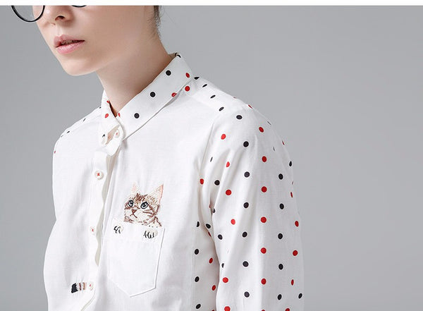 Peeking Cat Polka Dot Retro Blouse - Two Stupid Cats