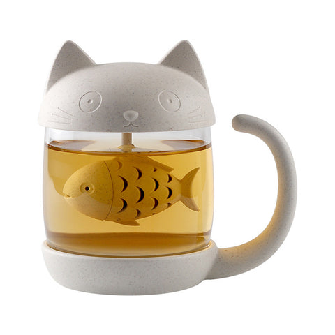 Cute Cat Mug With Infuser - Two Stupid Cats