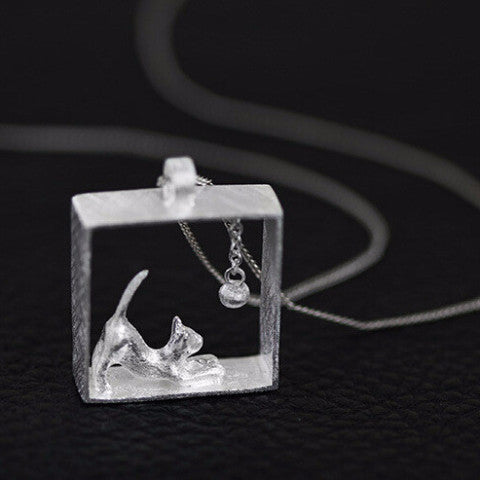 Beautiful Sterling Silver Rectangle Cat Necklace - Two Stupid Cats
