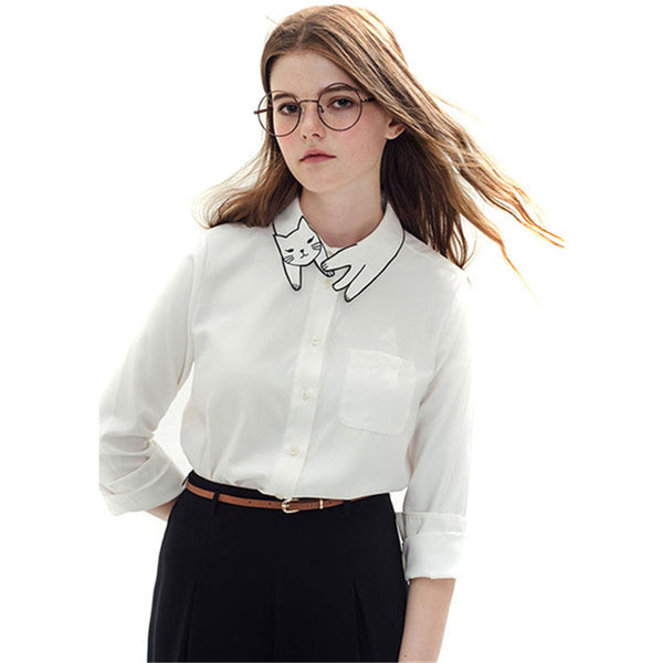Pure Cat Collar White Blouse - Two Stupid Cats