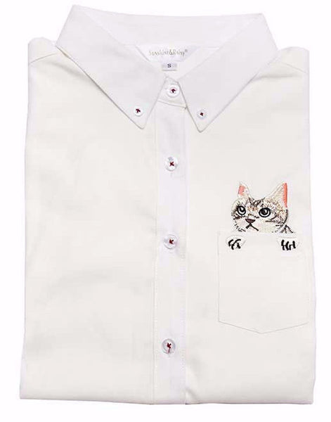 Cat in a Pocket Cotton Shirt - Two Stupid Cats