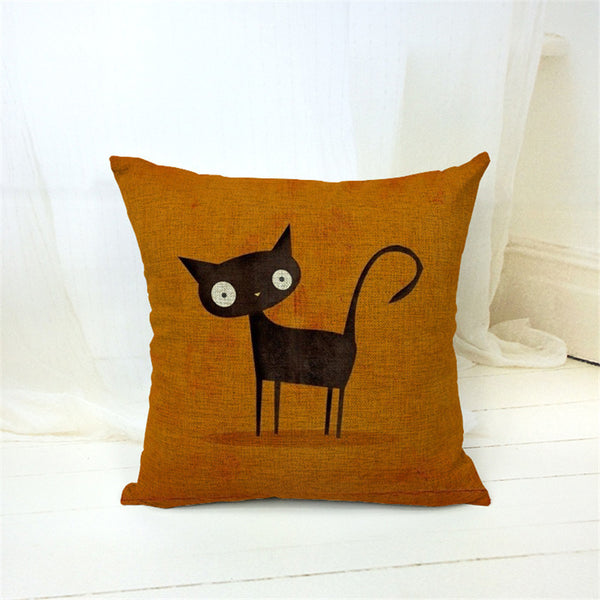 Black Cat Hipster Cushion Cover - Two Stupid Cats
