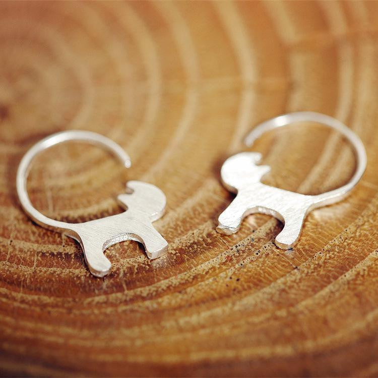 Sterling Silver Happy Cat Earrings - Two Stupid Cats