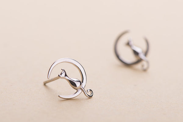 Sterling Silver Moon Cat Stud Earrings - Two Stupid Cats