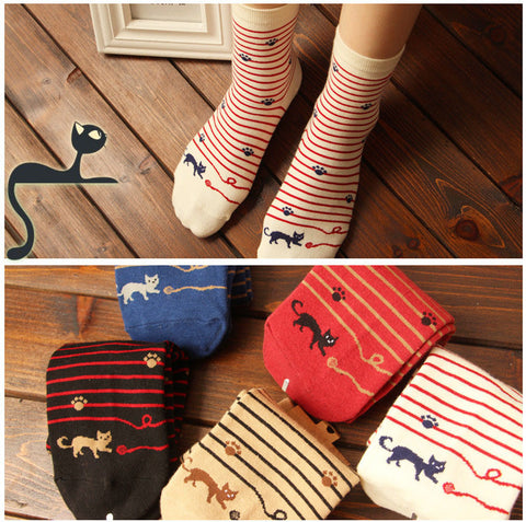 Sassy Cat Striped Cotton Socks - Two Stupid Cats