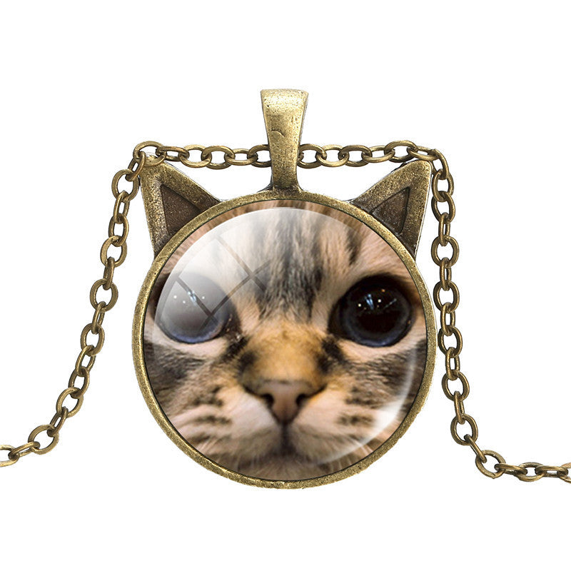 Vintage Bronze Cat Necklace - Two Stupid Cats