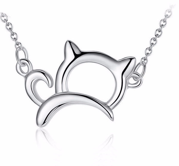 Platinum Plated Cat Shaped Necklace - Two Stupid Cats