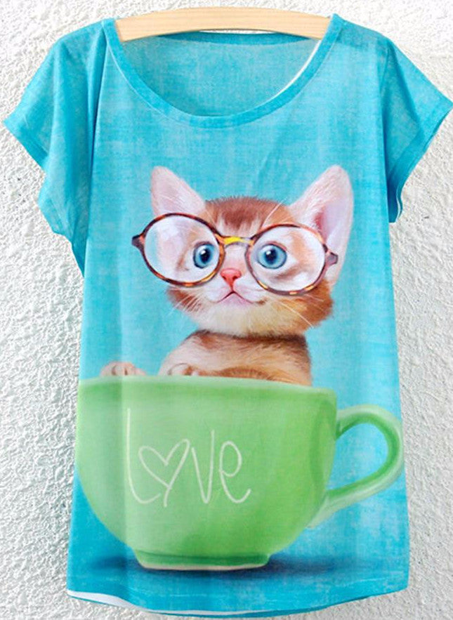 Kitty in a Cup T-shirt - Two Stupid Cats