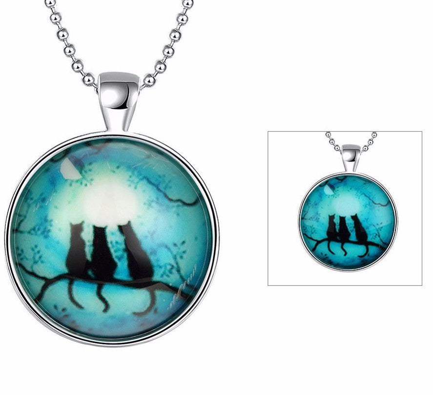 Night Cats Luminous Pendant Necklace - Two Stupid Cats