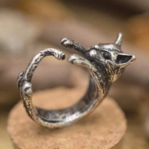 Antique Silver Black Wrapping Cat Ring - Two Stupid Cats