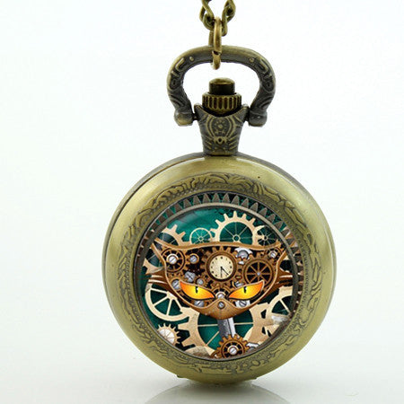 Steampunk Cat Pocket Watch - Two Stupid Cats