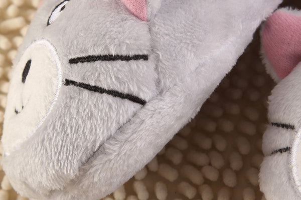 Grey Kitty Home Slippers - Two Stupid Cats
