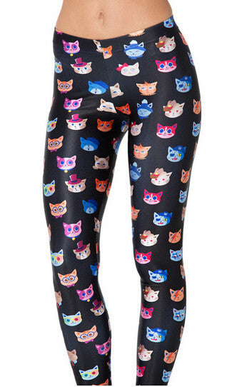 Cute Cat Printed Black Leggings - Two Stupid Cats