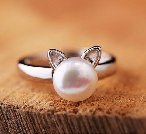 Sterling Silver Imitation Pearl Cat Ring - Two Stupid Cats