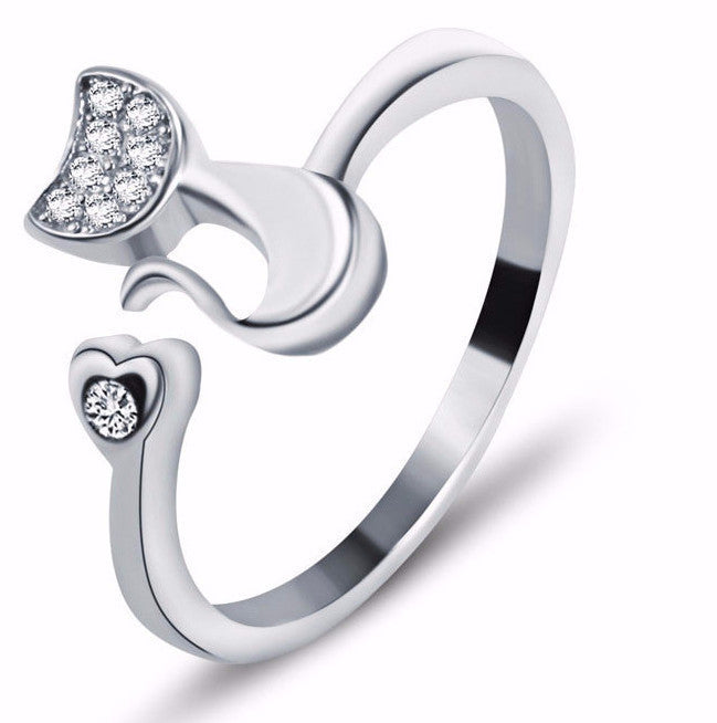 Sassy Cat Sterling Silver Zirconia Ring - Two Stupid Cats
