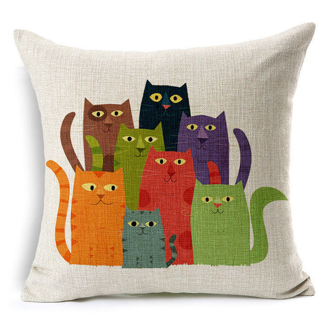 Heaps of Cats Colorful Cushion Cover - Two Stupid Cats