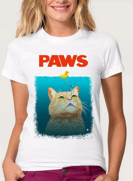 Paws White T-Shirt - Two Stupid Cats