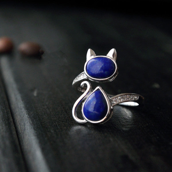 Sterling Silver Natural Blue Stone Cat Ring - Two Stupid Cats