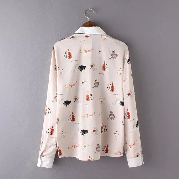Elegant Cat Collar Light Pink Blouse - Two Stupid Cats