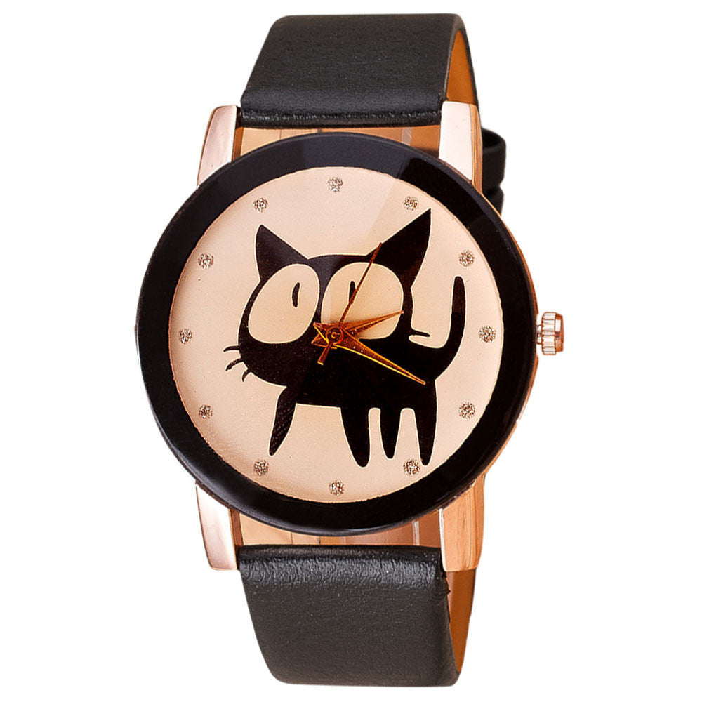 Adorable Black Cat Leather Bracelet Watch - Two Stupid Cats