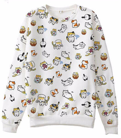 Anime Cute Cat Sweatshirt - Two Stupid Cats